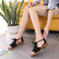 Giày sandal đế thô chiến binh cột nơ cực chất