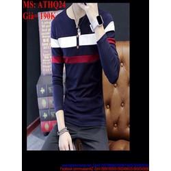 Áo thun nam cổ tròn sọc màu 3 viền cá tính và sành điệu ATHQ35