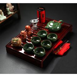 Bộ ấm trà sứ cao cấp, có khay đựng phong cách cung đình