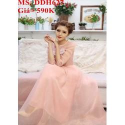 Đầm maxi dự tiệc màu hồng xinh đẹp phối lưới sang trọng DDH627