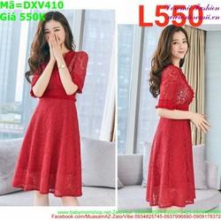 Đầm xòe công sở dài tay cổ V chất ren cao cấp nổi bật DXV410