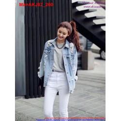 Áo khoác Jean nữ tay dài rách bụi bặm cá tính