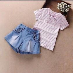 Set bộ bé gái áo thun sọc quần jean giả váy size đại
