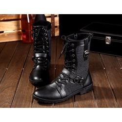 Giày nam cao cổ da kết hợp vải bò cực chất B18