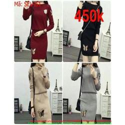 Sét áo dài tay và chân váy bút chì chất liệu len cao cấp SEV451
