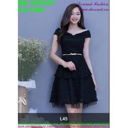 Đầm xòe dự tiệc bẹt vai màu đen thanh lịch cá tính DXV442