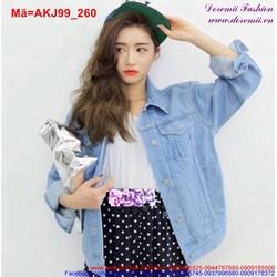 Áo khoác jean nữ xanh trơn form rộng sành điệu