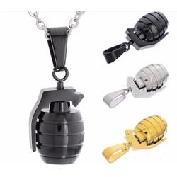 dây chuyền quả lựu đạn màu đen