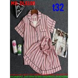 Sét bộ đồ ngủ pyjama sọc phối quần short siêu dễ thương
