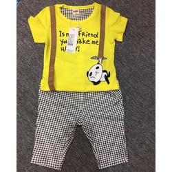 Set: áo thun chú gấu Panda - quần sọc ca rô - HÀNG QUẢNG CHÂU