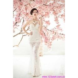 Váy đầm cô dâu dạ tiệc cúp ngực váy lưới đuôi cá quyến rũ sDD803