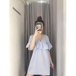 Đầm Suông Cổ V Sọc Nhún Bèo Xinh Xinh