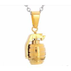 dây chuyền quả lựu đạn màu vàng