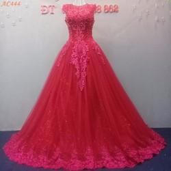 áo cưới màu đỏ cổ tròn AC444