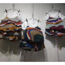 Set :Áo thun cotton phối cùng bộ voan 2 dây - HÀNG NHẬP QUẢNG CHÂU