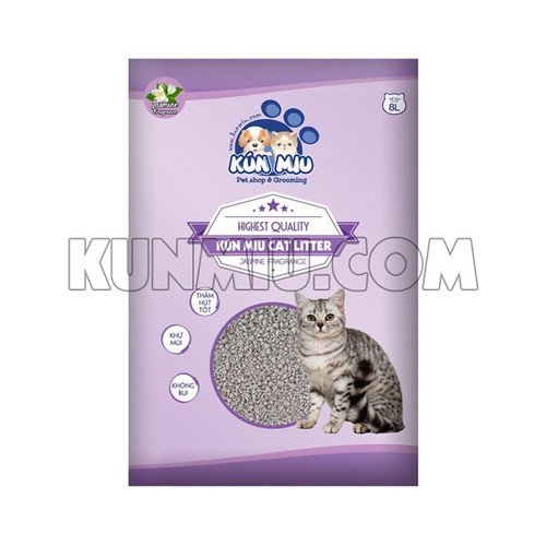 Cát vệ sinh cho mèo kún miu hương hoa nhài 8l - tinh chất than hoạt tính và zeolite cao cấp