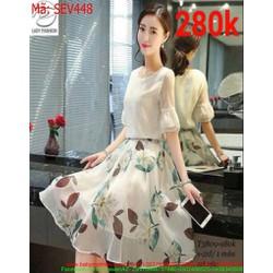 Sét áo kiểu tay loa lưới phối chân váy xòe hoa thời trang SEV448