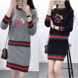 Set len và chân váy chuồn chuồn- Hàng Quảng Châu