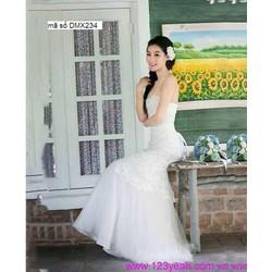 Đầm cô dâu cúp ngực thắt dây váy lưới xòe xinh đẹp DMX234