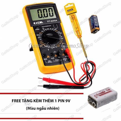 Bộ Đồng hồ đo vạn năng Excel DT9205A và 1 bút thử điện +Tặng 1 Pin 9V