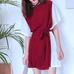 Váy ngắn họa tiết phối mảng màu nhẹ nhàng