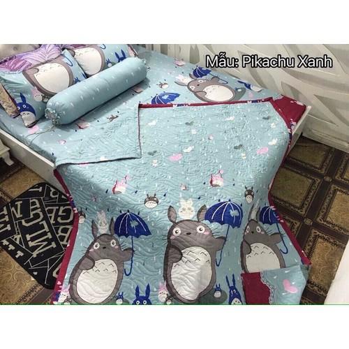 Bộ ga giường + 3 vỏ gối giá rẻ cotton lụa Pikachu xanh - PL092