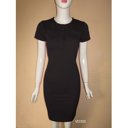 Đầm body cổ tròn túi hộp đơn giản so hot VD303