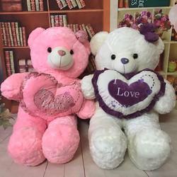 Thú bông gấu bông trắng hoặc hồng ôm tim love 80cm