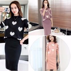 Set áo áo len + chân váy hình trái tim- Hàng Quảng Châu