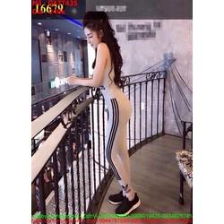 Bộ thể thao nữ áo ba lỗ và quần dài logo AD màu xám trẻ trung