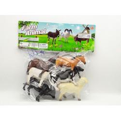 Túi 6 con mô hình thú gia súc nhựa - A261