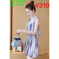 Đầm suông công sở sát nách họa tiết sọc màu nổi bật DSV235