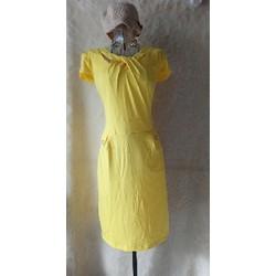 Đầm thun nữ cổ cách điệu tay ngắn 2 túi giả