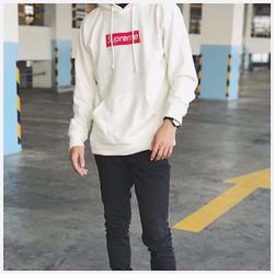 Áo hoodie thêu Supreme