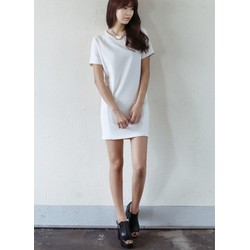 Đầm suông tay ngắn màu trắng đơn giản dành cho công sở