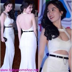 Đầm dạ hội trắng hở lưng thiết kế độc đáo quyến rũ