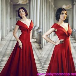 Đầm dạ hội bẹt vai hở V sang trọng quyến rũ DV279
