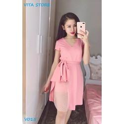 Váy xòe eo xếp ly màu hồng quyến rũ