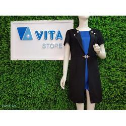 Váy giả vest cổ đính khuy thời trang công sở