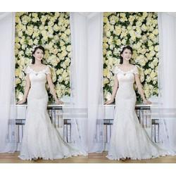 Đầm ren cô dâu trễ vai quyến rũ
