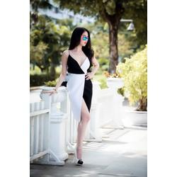 Chuyên sỉ - Đầm body ngọc trinh hai dây chân váy xẻ phối màu