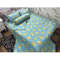 Xả kho bộ drap giường + 2 vỏ gối nằm cotton lụa quả chuối vàng-PL103