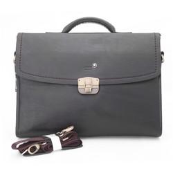 Túi xách nam da thật Mont Blanc khóa kim loại Màu đen MOBL103