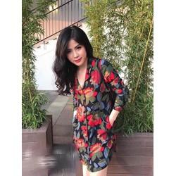 Đầm cổ vest in hoa 3 D