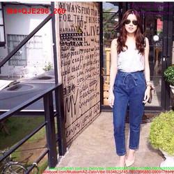 Quần jean nữ lưng cao thắt dây trẻ trung cá tính