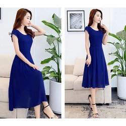 Đầm xòe xanh coban, đầm váy, đầm xòe tay lỡ màu xanh coban