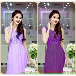 Đầm dạ hội lệch vai hoa váy voan quyến rũ như HH Thu Thảo