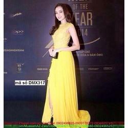 Đầm dạ tiệc ren hoa phối váy voan sắc vàng quyến rũ sDMX317