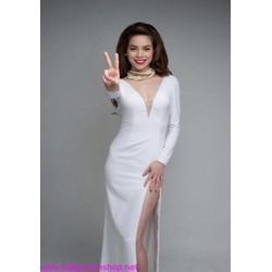 Đầm dạ hội dài tay thiết kế cổ V sau và xẻ đùi quyến rũ DDh148