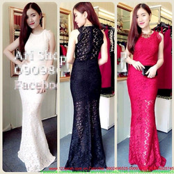 Đầm dạ hội ren váy đuôi cá 3 màu cực sang trọng
